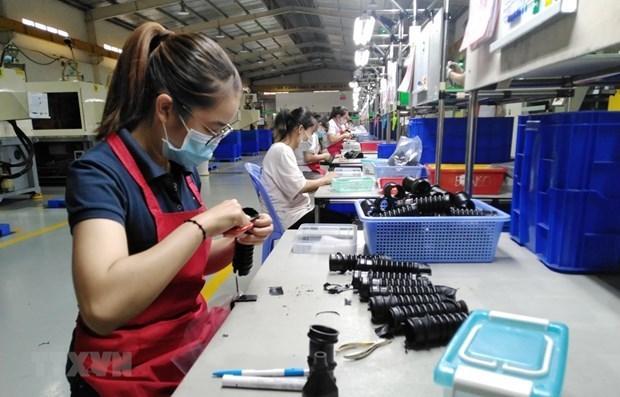 Công nhân hoàn thiện linh kiện giảm chấn băng cao su kỹ thuật cao tại nhà máy của Công ty TNHH Tương Lai tại Đồng Nai (Ảnh: TTXVN)